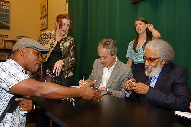 Saxophonist J.D. Allen greets Sonny Rollins and John Abbott at Saxophone Colossus book signing in NYC