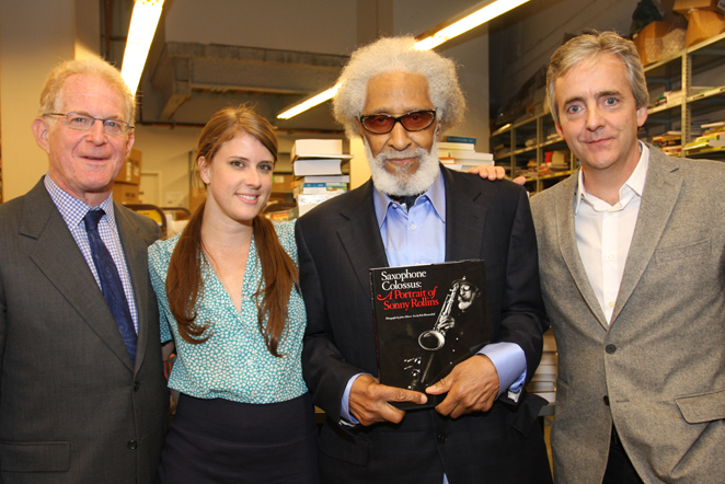 Bob Blumenthal, Amy Franklin, Sonny Rollins and John Abbott at Saxophone Colossus book signing in NYC