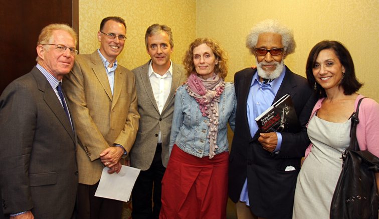 Bob Blumenthal, Peter Downey, John Abbott, Terri Hinte, Sonny Rollins and Robin Abbott at Saxophone Colossus book signing in NYC