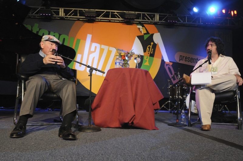 George Wein and Andrew Gilbert during interview session at 2010 Monterey Jazz Festival