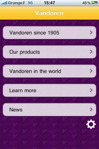 Vando iPhone App  - Menu