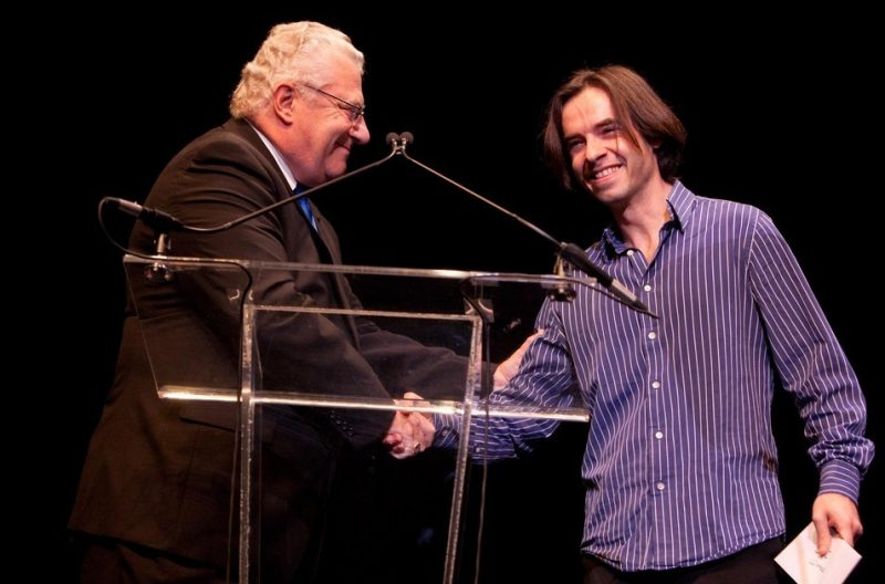 Composers Competition winner Vadim Neselovskyi receives award from BMI's Fred Cannon