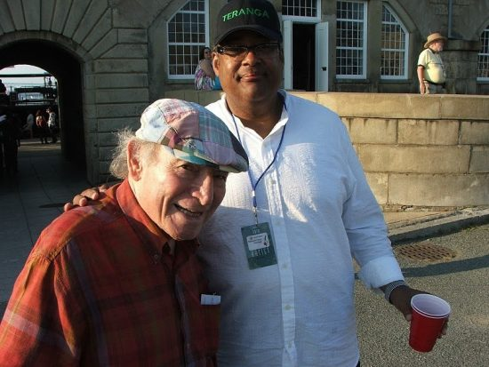 Old friends George Wein and Jon Faddis backstage at CareFusion Newport Jazz Festival image 0
