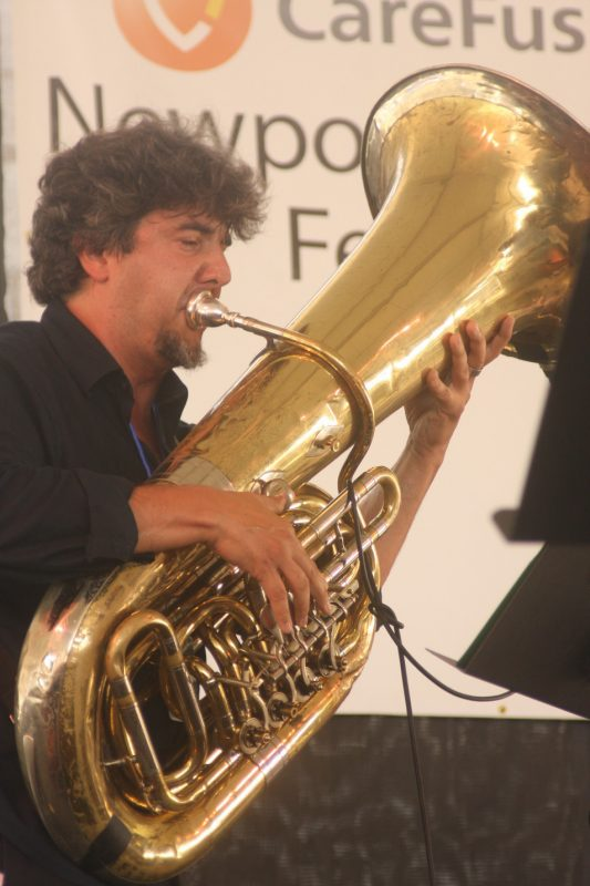 Marcus Rojas performing with Dave Douglas' Brass Ecstasy group at CareFusion Newport Jazz Festival 2010