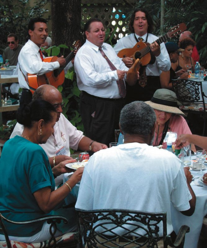 Lunch & music: Many of our lunches were held in beautiful outdoor restaurants like La Ferminia, where we were serenaded by strolling Cuban musicians. Rice, beans and pork are staples of the Cuban diet.