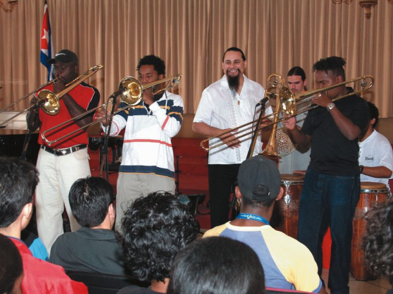 Steve Turre: In a performance at the Higher School of Art, Turre worked with the trombone students. The school occupies a former country club outside of Havana.