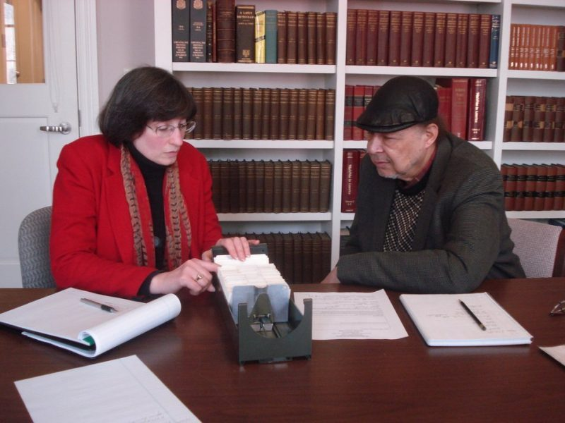 Elizabeth E. Fuller and Dave Burrell in reading room of Rosenbach Museum & Library