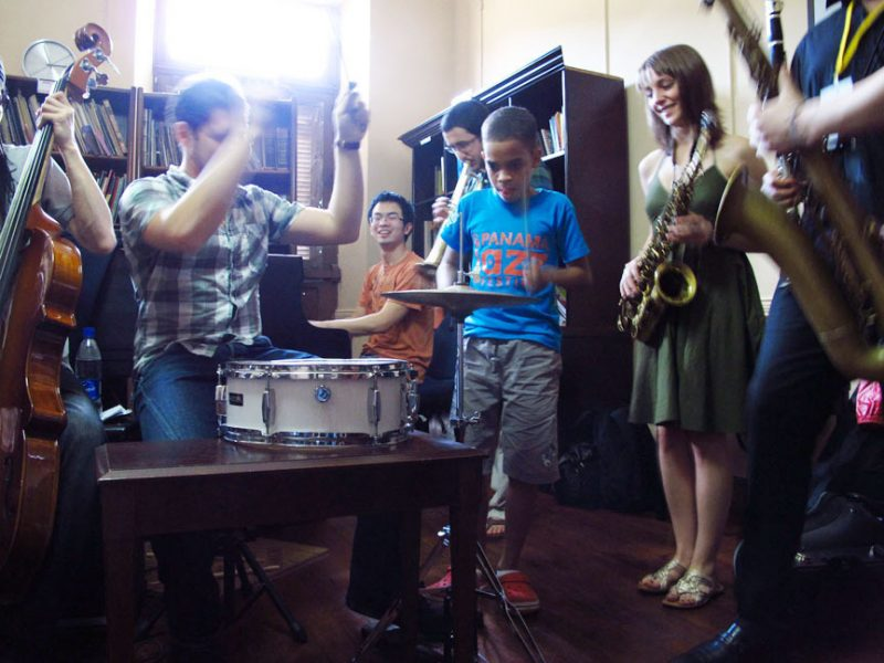 Young students at clinic during 2011 Panama Jazz Festival