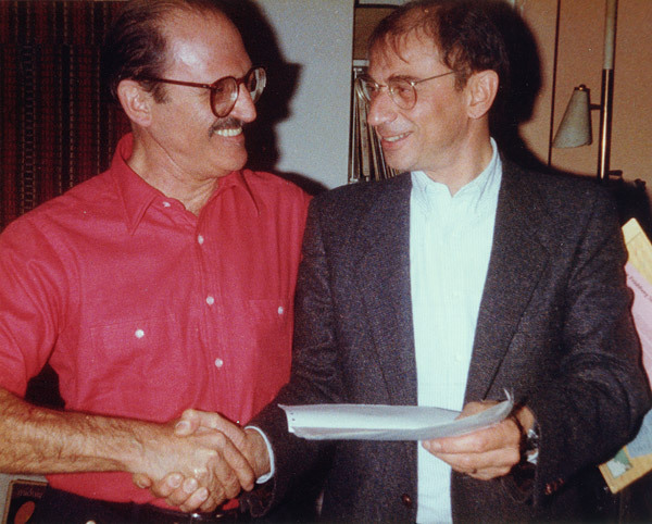 "Al Cohn and Dave Frishberg celebrate royalty checks of $17.21each for their song ""The Underdog"" in 1984"