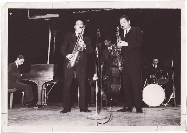Dave Frishberg, Al Cohn, Victor Sproles, Zoot Sims, Steve Schaeffer in Utica, NY in 1967