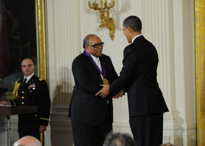 Quincy Jones receives the 2010 National Medal of Arts from President Barack Obama at an East Room ceremony at the White House on March 2, 2011