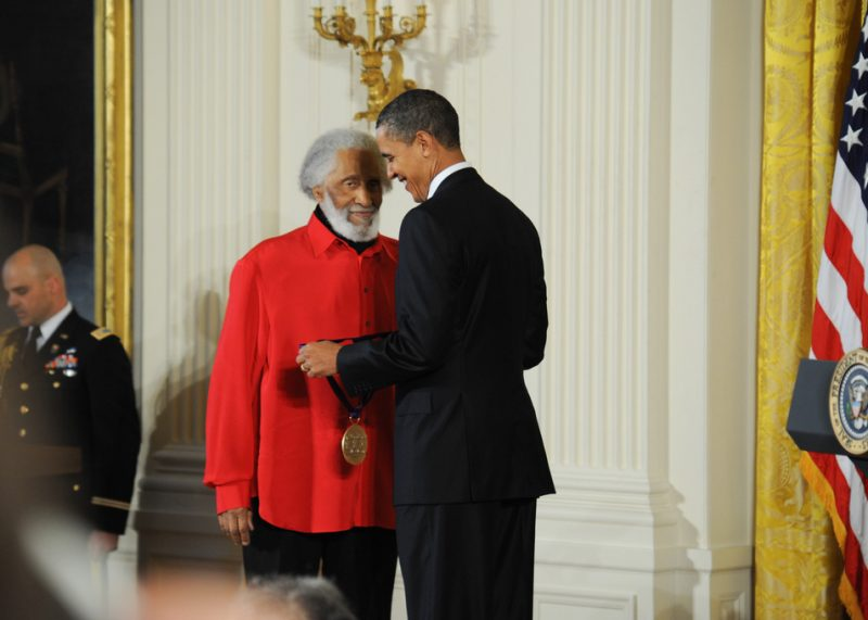 Sonny Rollins receives the 2010 National Medal of Arts from President Barack Obama at an East Room ceremony at the White House on March 2, 2011.