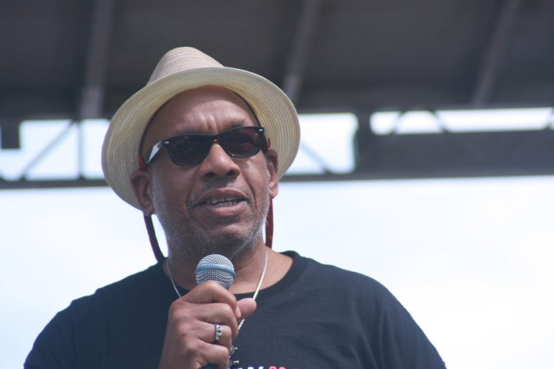 Writer and radio host Willard Jenkins introduces Jason Moran & Bandwagon at the 2010 Rosslyn Jazz Festival