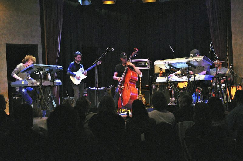 Ruslan Sirota, Charles Altura, Ronald Bruner, Jr. and David Nathan performing with Stanley Clarke at Yoshi's in Oakland on April 1, 2011