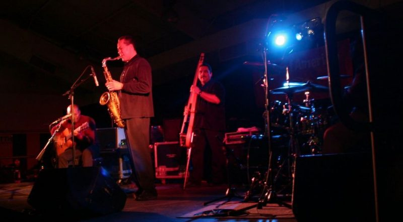 """Kevin Eubanks, Billy Pierce, Alfred Rene Camacho and Marvin """"Smitty Smith"""" at 2011 Cape May Jazz Festival"""