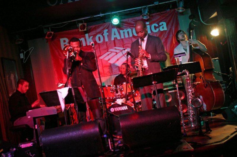 Josh Richman, Leon Jordan, Jr,, Leon Jordan, Sr., Greg Riley and Jason Fratacelli at 2011 Cape May Jazz Festival