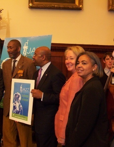 Ron Carter and Mayor Michael Nutter at press conference for Philadelphia Jazz Appreciation Day