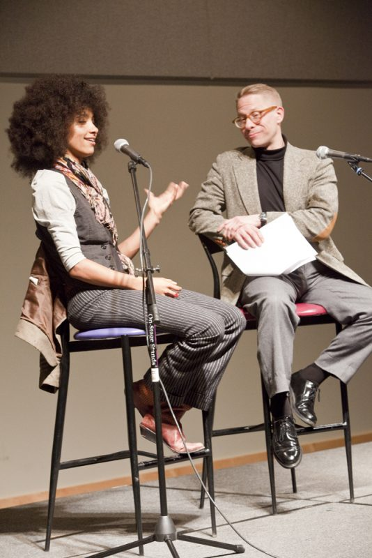Esperanza Spalding and Tim DuRoche at panel session during 2011 Portland Jazz Festival