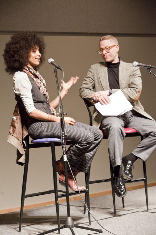 Esperanza Spalding and Tim DuRoche at panel session during 2011 Portland Jazz Festival