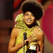 Esperanza Spalding receiving her Grammy award  image 0