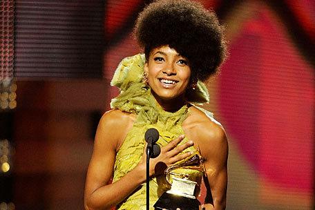 Esperanza Spalding receiving her Grammy award