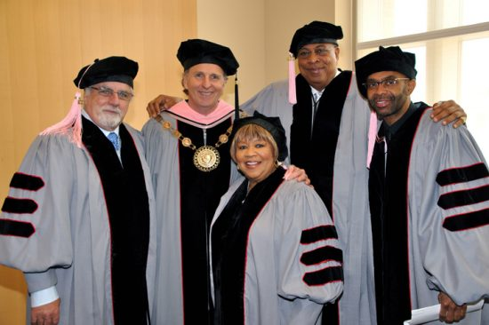 Roger Brown, president of Berklee College of Music, with recipients of honorary doctorate degree - Michael McDonald, Mavis Staples, Chucho Valdes and Kenny Garrett image 0