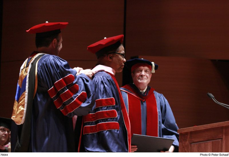 Herbie Hancock at Juilliard's 106th Commencement Ceremony receiving his honorary degree from Juilliard's Provost and Dean, Ara Guzelimian and Juilliard President Joseph W. Polisi