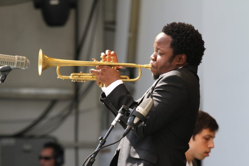 Ambrose Akinmusire performing at the 2011 Playboy Jazz Festival