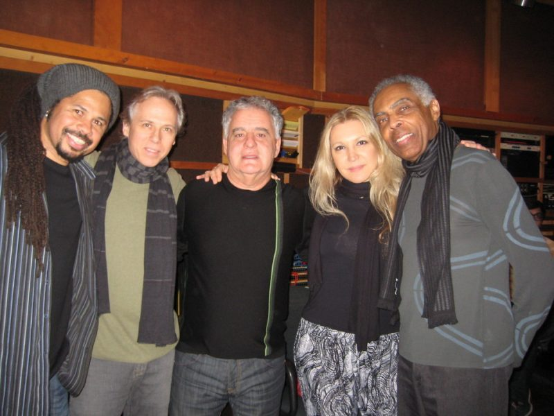 Marivaldo dos Santos, Marc Johnson, Paulo Braga, Eliane Elias and Gilberto Gil at recording session for Eliane Elias' Light My Fire album