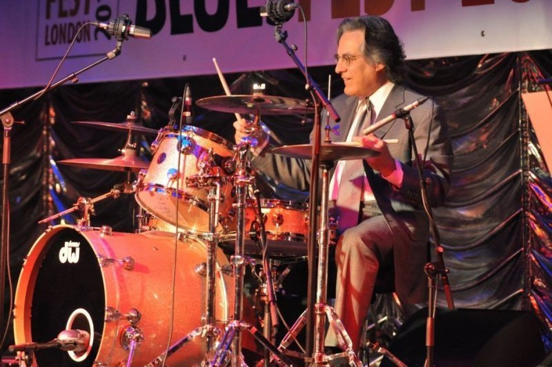 Drummer Max Weinberg in performance at BluesFest held at Under the Bridge in London