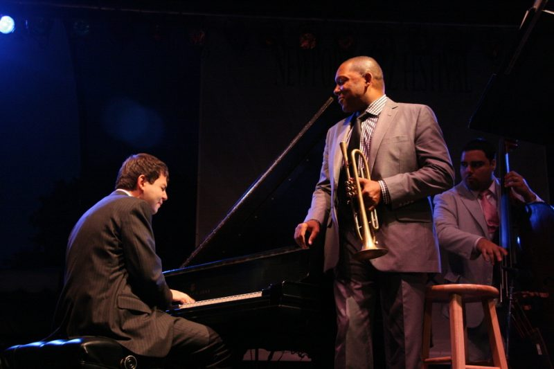 Dan Nimmer, Wynton Marsalis and Carlos Henriquez performing during the 2011 Newport Jazz Festival