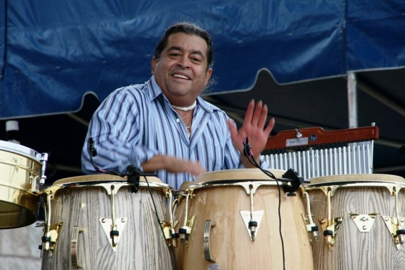 Giovanni Hidalgo performing with Michel Camilo during the 2011 Newport Jazz Festival