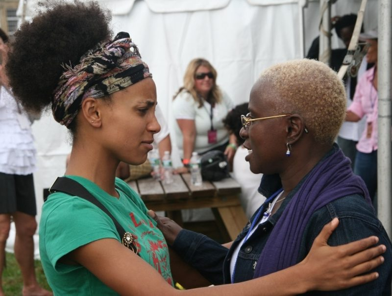 Esperanza Spalding and Angelique Kidjo backstage at the 2011 Newport Jazz Festival