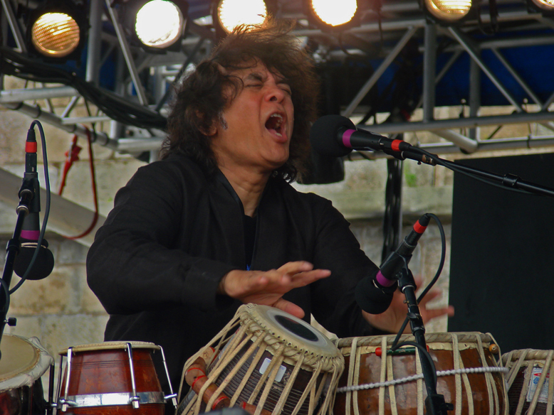 Zakir Hussain performing with Charles Lloyd and Sangam at the 2011 Newport Jazz Festival