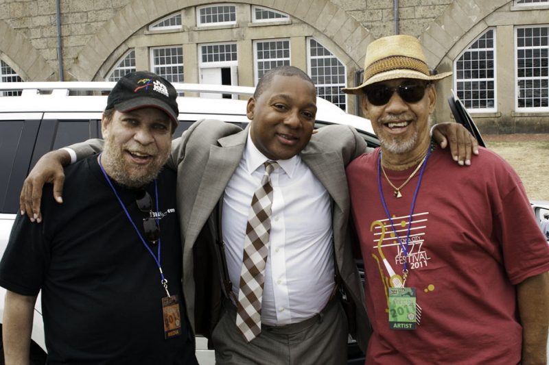 Eric Jackson, Wynton Marsalis and Neil Clarke backstage at the 2011 Newport Jazz Festival