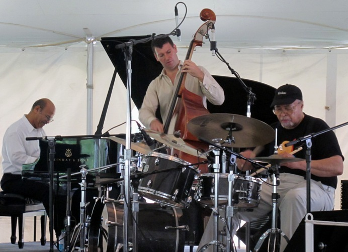 Jimmy Cobb, Llew Matthews and John Webber at the 2011 Tanglewood Jazz Festival's Jazz Cafe