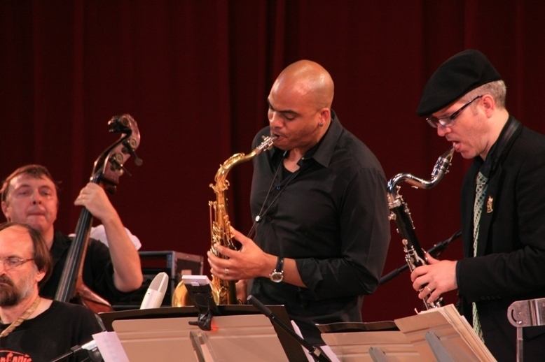 Mingus Orchestra members Scott Robinson, Boris Kozslov, Wayne Escoffery and Doug Yates