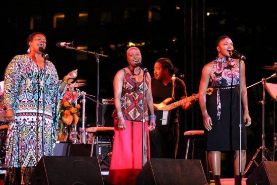 Dianne Reeves, Angelique Kidjo and Lizz Wright (with James Genus on bass) at the 2011 Detroit Jazz Festival image 0