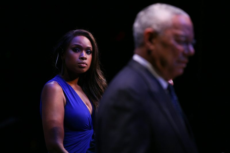 Jennifer Hudson onstage with Monk Institute 25th Anniversary Year Co-Chair Colin Powell