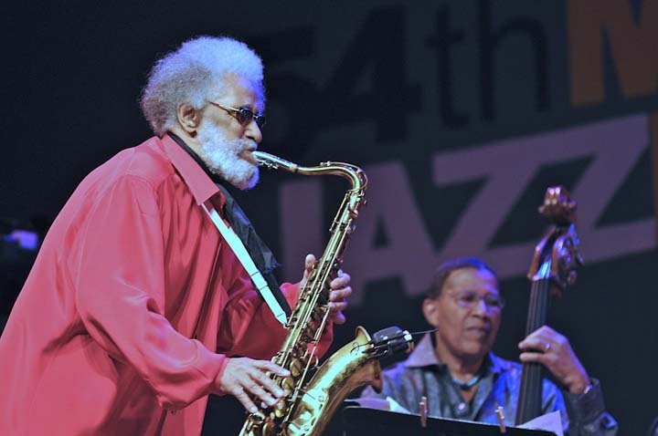 Sonny Rollins with Bob Cranshaw in performance at 2011 Monterey Jazz Festival