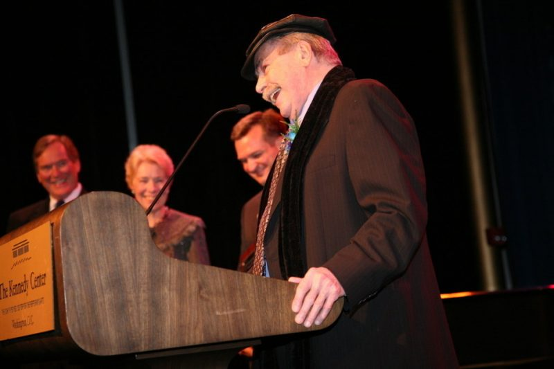 Phil Woods receives Living Legacy Award. Dorothy McSweeny and Mark Haslam look on.
