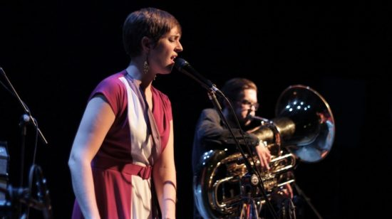 Vocalist Ine Kristine Hoem and tubist Kristoffer Lo from PELbO in performance at 2011 London Jazz Festival image 0