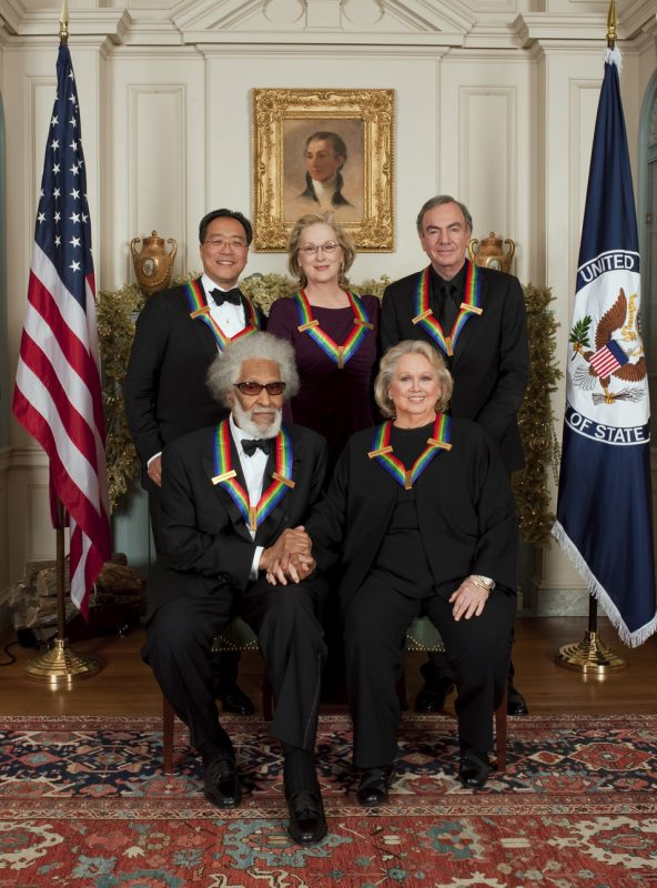2011 Kennedy Center honorees (counter-clockwise from lower left): Sonny Rollins, Barbara Cook, Neil Diamond, Meryl Streep, Yo-Yo Ma