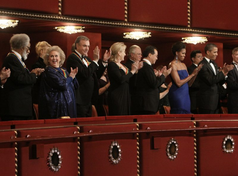 2011 Kennedy Center honorees (l. to r.): Sonny Rollins, Barbara Cook, Neil Diamond, Meryl Streep, Yo-Yo Ma, Michelle Obama, President Obama