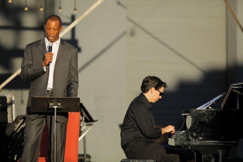 "Pianist Aaron Prado and the narrator of his ""San Antonio Jazz Suite,"" former San Antonio Spur Sean Elliott; Oct. 23, 2011"