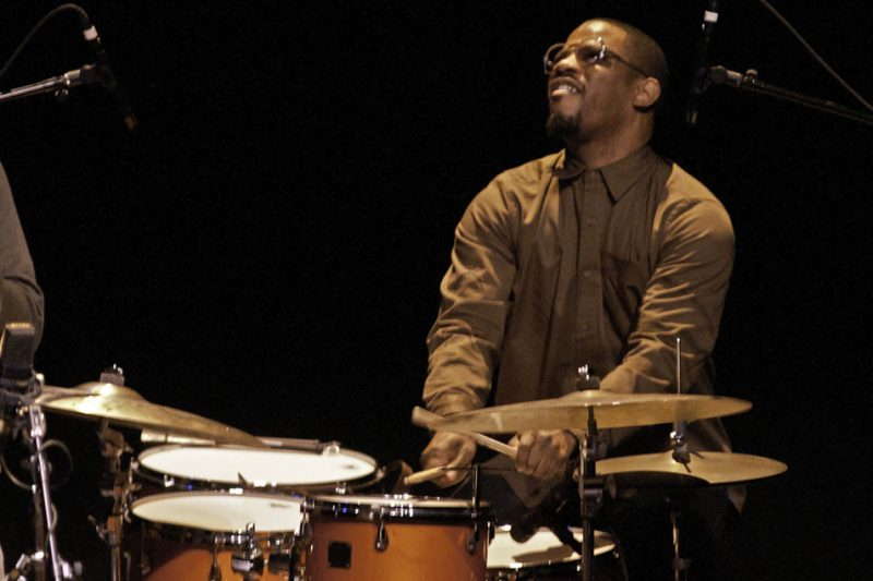 Karriem Riggins with the Ravi Coltrane Quintet in performance at Zellerbach Theatre in Philadelphia