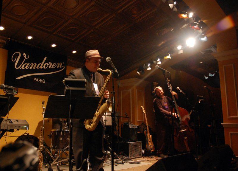 Jerry Vivino and bassist Michael Valerio at Vandoren's 2012 Winter NAMM VandoJam
