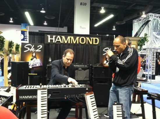 Larry Goldings (left) and Gregoire Maret at the Hammond Suzuki booth, Winter NAMM 2012 image 0