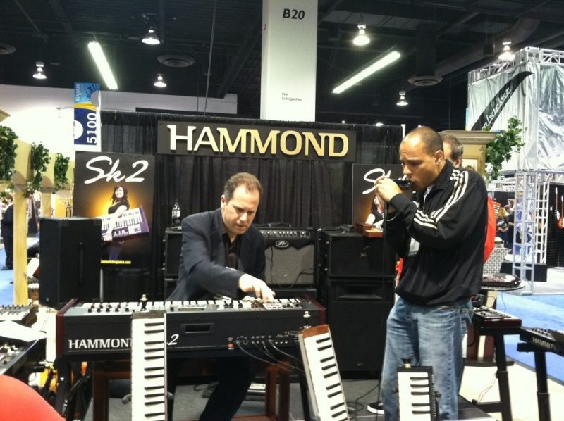 Larry Goldings (left) and Gregoire Maret at the Hammond Suzuki booth, Winter NAMM 2012