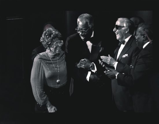 "Ella Fitzgerald, Joe Williams, George Shearing and Oscar Peterson at the February 12, 1990, ""Hearts for Ella"" tribute concert at Avery Fisher Hall in New York City. image 0"